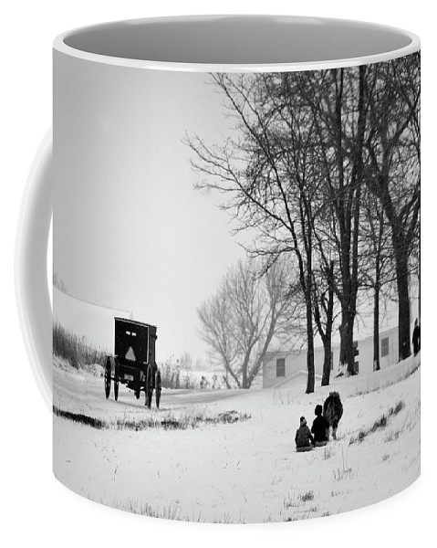 Amish Coffee Mug featuring the photograph Amish Sled Ride by David Arment
