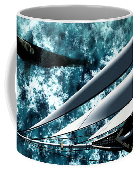 Ocean Coffee Mug featuring the digital art Among Giants by Richard Rizzo