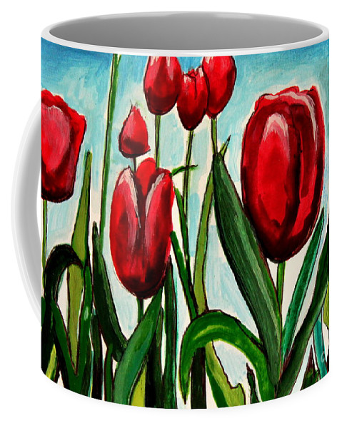 Tulips Coffee Mug featuring the painting Among The Tulips by Elizabeth Robinette Tyndall