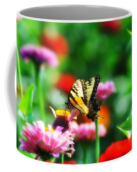 Butterfly Coffee Mug featuring the photograph Amongst The Flowers by Bill Cannon