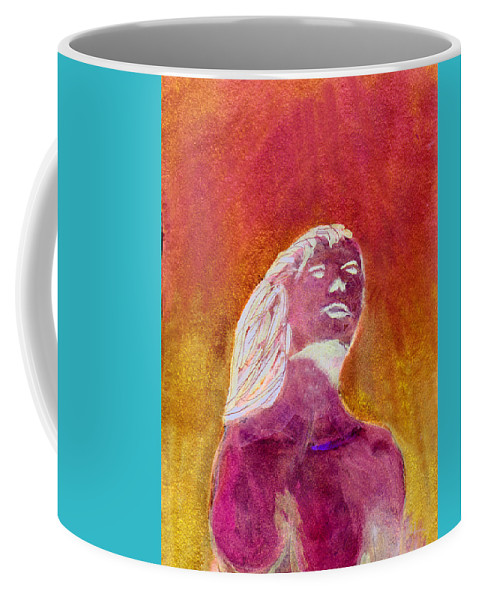 Mermaid Coffee Mug featuring the painting Amphitrite Siren Of Sunset Reef by Donna Walsh