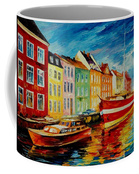 Afremov Coffee Mug featuring the painting Amsterdam - City Dock by Leonid Afremov