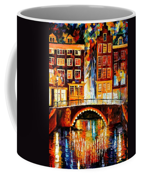 Afremov Coffee Mug featuring the painting Amsterdam - Little Bridge by Leonid Afremov