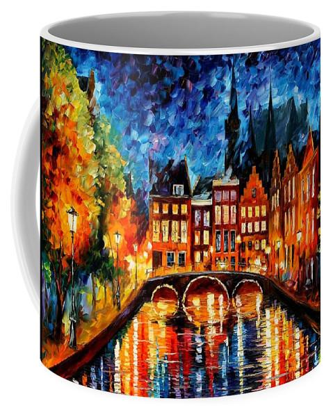 Afremov Coffee Mug featuring the painting Amsterdam Canal by Leonid Afremov