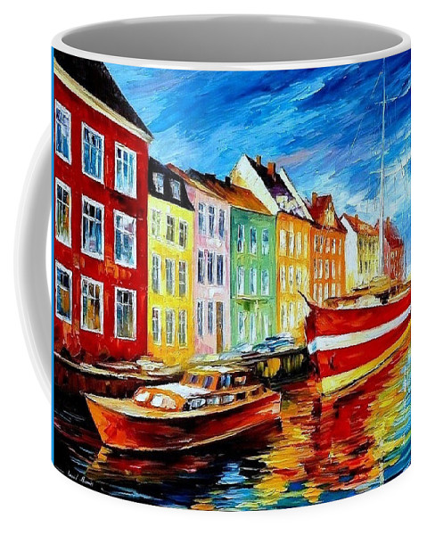 Art Gallery Coffee Mug featuring the painting Amsterdam-city Dock - Palette Knife Oil Painting On Canvas By Leonid Afremov by Leonid Afremov