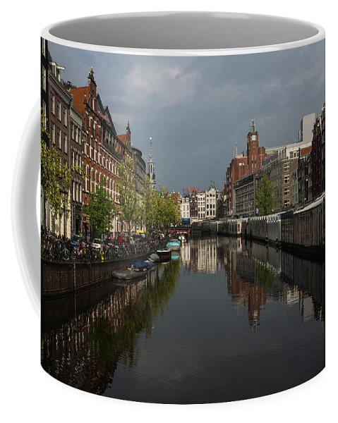 Georgia Mizuleva Coffee Mug featuring the photograph Amsterdam - Singel Canal With The Floating Flower Market by Georgia Mizuleva