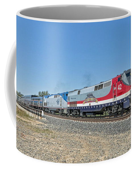 Amtrak Coffee Mug featuring the photograph Amtrak 42 Veteran's Special by Jim Thompson