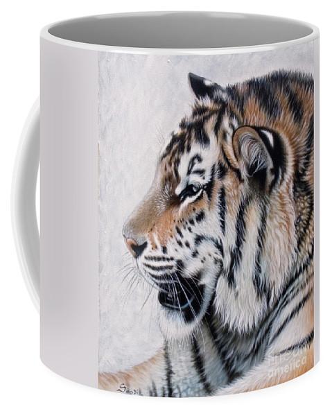 Acrylic Coffee Mug featuring the painting Amur by Sandi Baker