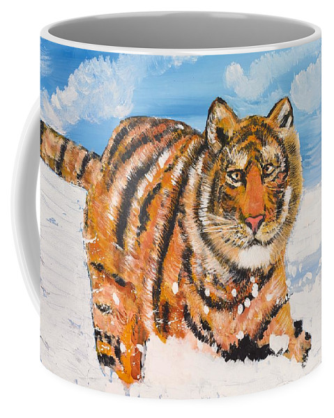 Cat Coffee Mug featuring the painting Amur Tiger by Valerie Ornstein