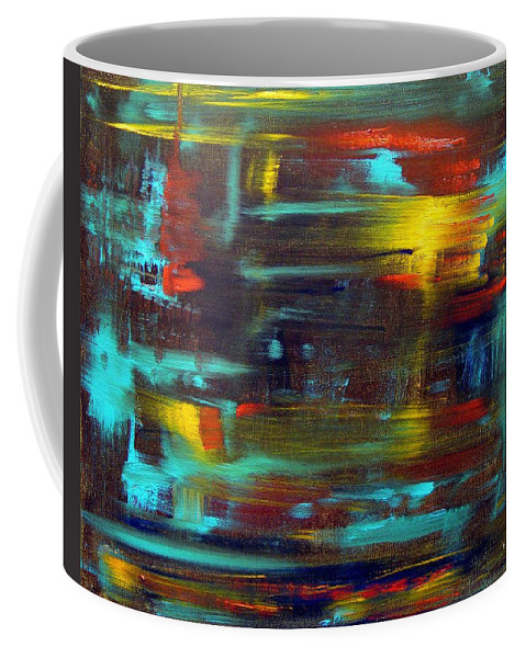 Red Blue Yellow Gold Brown Cad Orange Eyes Obama Oscar  Face Thought Emotions Coffee Mug featuring the painting An Abstract Thought by Jack Diamond