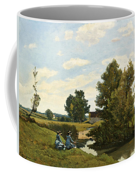 Henri-joseph Harpignies Coffee Mug featuring the painting An Afternoon Along The Loing Near Saint-prive by Henri-Joseph Harpignies