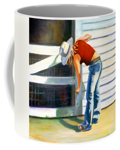 Red Coffee Mug featuring the painting An American Girl by Shannon Grissom