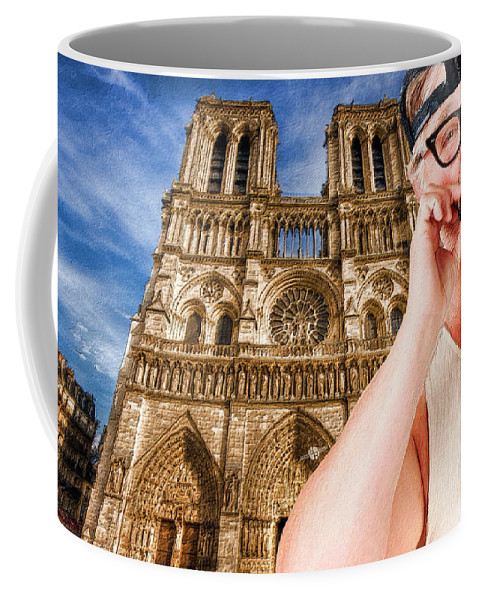 American Coffee Mug featuring the painting An American In Paris Notre Dame by Tony Rubino