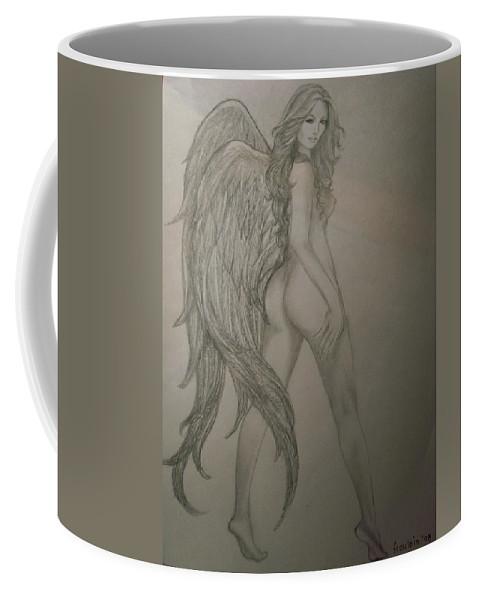 Angel Coffee Mug featuring the drawing An Angel by Glory Fraulein Wolfe
