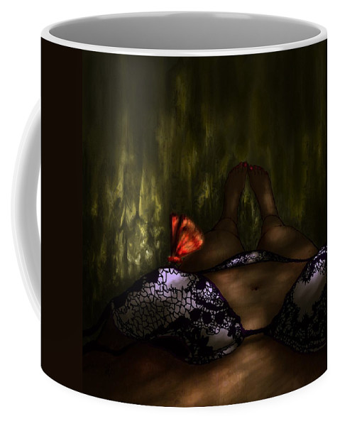 Abstract Coffee Mug featuring the digital art An Enchanted Visit by Rachel Christine Nowicki