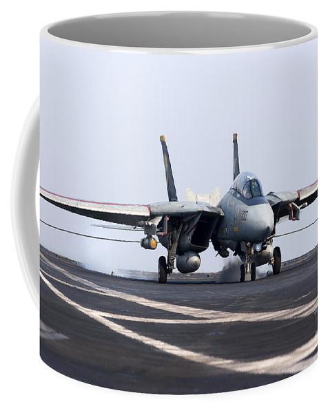Grumman Coffee Mug featuring the photograph An F-14d Tomcat Makes An Arrested by Gert Kromhout