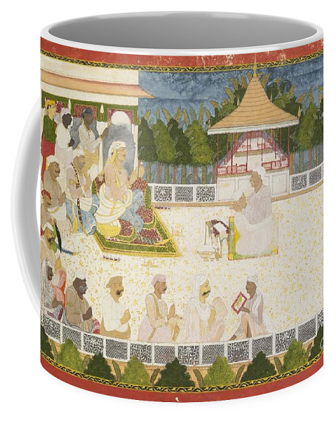 An Illustration Depicting Maharaja Ajit Singh Instructing A Scribe Coffee Mug featuring the painting An Illustration Depicting Maharaja Ajit Singh Instructing A Scribe by Celestial Images