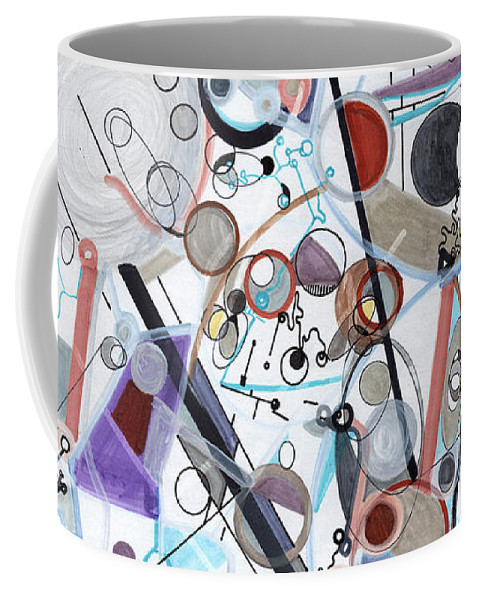 Orbits Coffee Mug featuring the drawing An Uncertain Progression by Regina Valluzzi