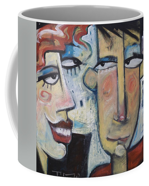 Man Coffee Mug featuring the painting An Uncomfortable Attraction by Tim Nyberg
