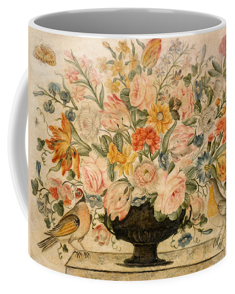 Still Life Coffee Mug featuring the drawing An Urn Containing Flowers On A Ledge by Octavianus Montfort