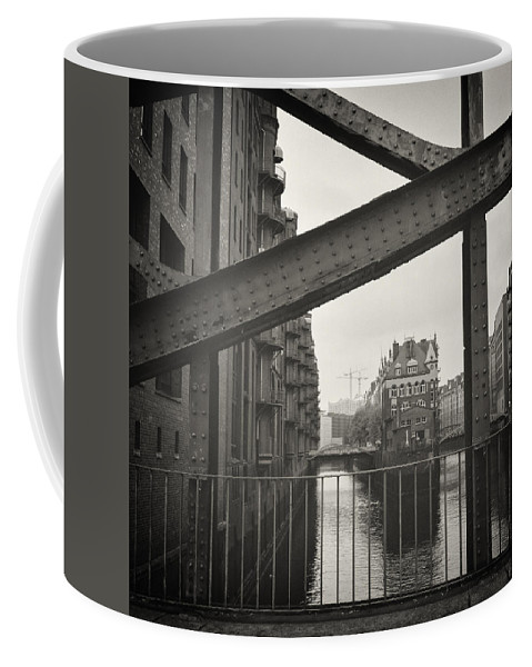 Analogue Coffee Mug featuring the photograph Analog Black And White Photography - Hamburg - Speicherstadt by Alexander Voss