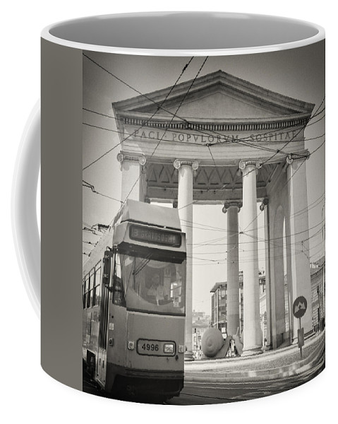 Analogue Coffee Mug featuring the photograph Analog Black And White Photography - Milan - Porta Ticinese by Alexander Voss