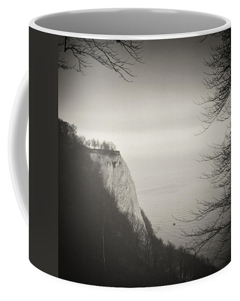 Analog Coffee Mug featuring the photograph Analog Black And White Photography - Rugen Island - Koenigsstuhl Chalk Cliff by Alexander Voss