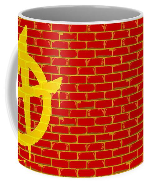 Anarchy Coffee Mug featuring the digital art Anarchy Graffiti Red Brick Wall by Bigalbaloo Stock