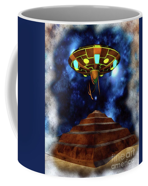 Ancient Coffee Mug featuring the painting Ancient Aliens, Ufo In Egypt by Raphael Terra
