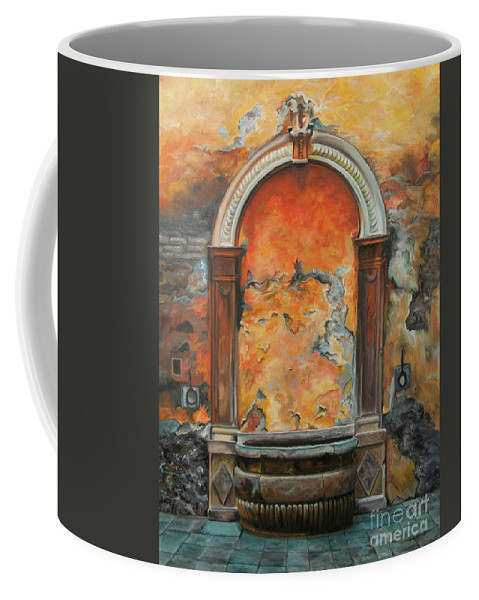 Fountain Painting Coffee Mug featuring the painting Ancient Italian Fountain by Charlotte Blanchard