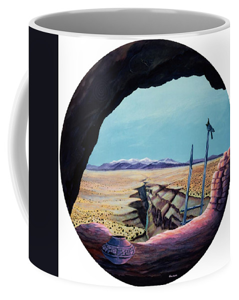 Stellar's Jays Coffee Mug featuring the painting Ancient Of Jays And The Remnants Of Man Above The Taos Gorge by Anastasia Savage Ealy