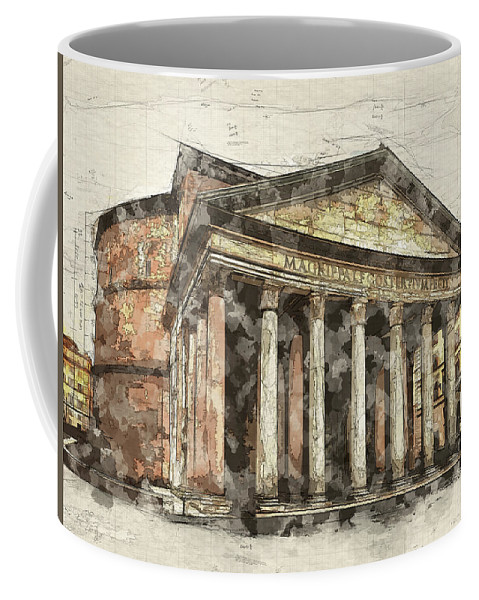 Rome Coffee Mug featuring the digital art Ancient Pantheon by Ronald Bolokofsky