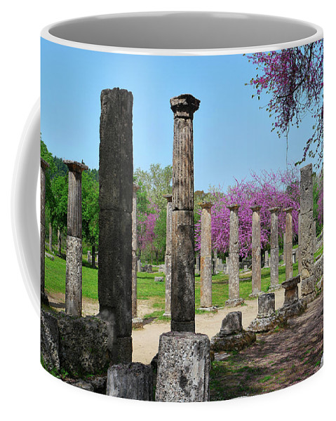 Ancient Ruins Coffee Mug featuring the photograph Ancient Ruins Tree By Columns by Mark Victors