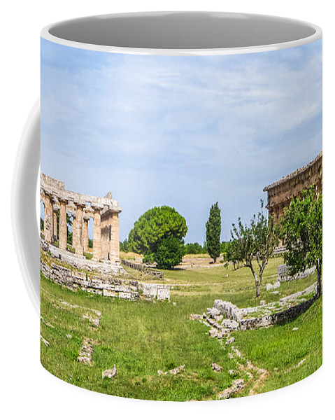 Tyrrhenian Sea Coffee Mug featuring the photograph Ancient Temple At Famous Paestum Archaeological, Italy by JR Photography