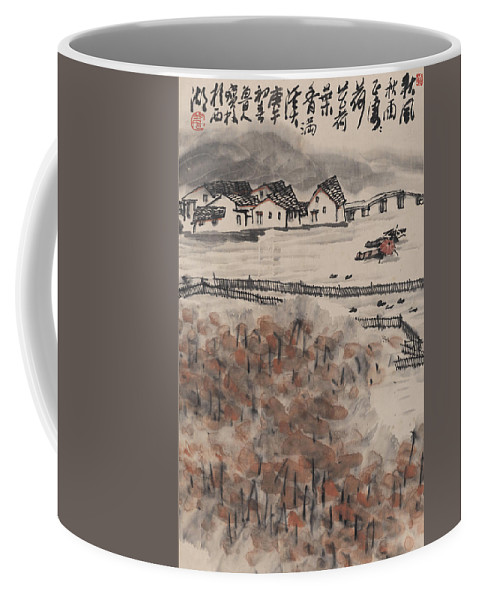 Ancient Town Coffee Mug featuring the painting Ancient Town River Paintingancient Town River Painting by Asian Art