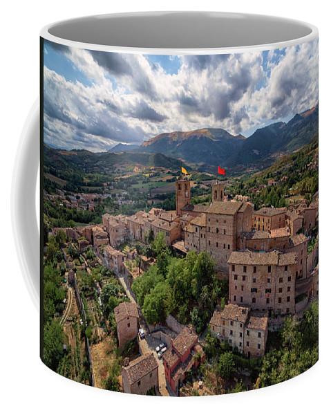 Aerial Coffee Mug featuring the photograph Ancient Village Of Sarnano Italy, Marche, Macerata - Aerial View by David Daniel