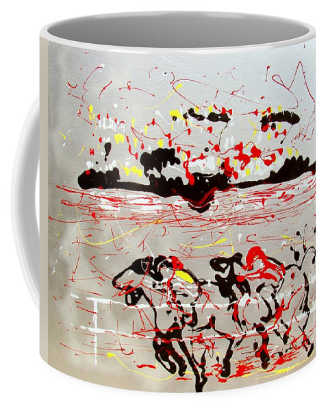 Abstract Coffee Mug featuring the mixed media And Down The Stretch They Come by J R Seymour