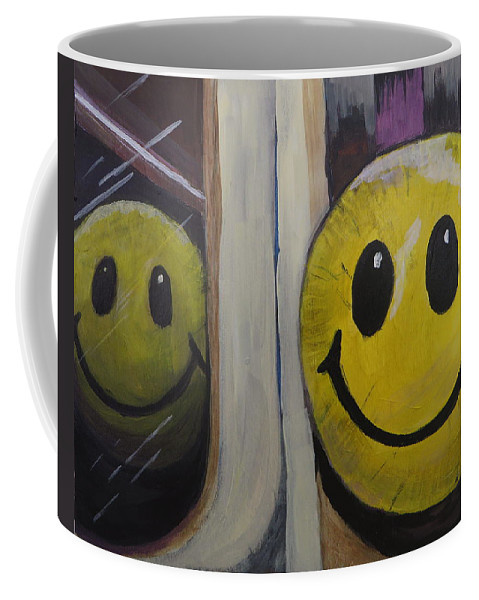 Smiley Face Coffee Mug featuring the painting And We Called Her Julie by Andrea Cole