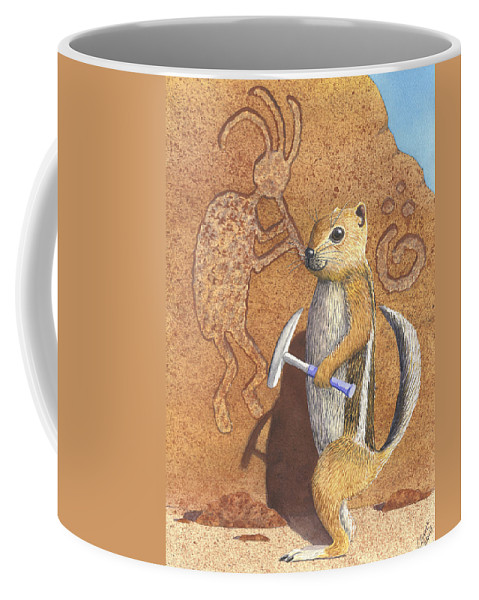 Kokopeli Coffee Mug featuring the painting And you thought it was the Anasazi by Catherine G McElroy