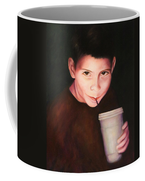 Boy Coffee Mug featuring the painting Andrew by Shannon Grissom