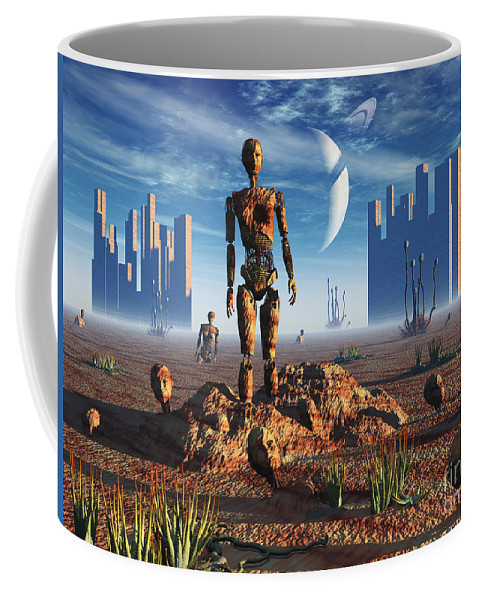 Surreal Coffee Mug featuring the digital art Android Fossils Preserved by Mark Stevenson