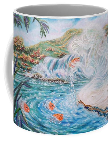Smiling Angel Coffee Mug featuring the painting Angel And The Fishes Flying-lamb-productions by Sigrid Tune
