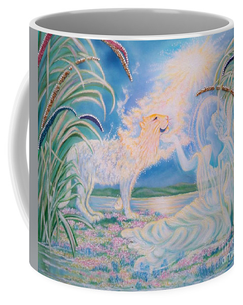 Soft Colors Coffee Mug featuring the mixed media Chloe The Flying Lamb Productions.      Ask The Beasts And They Will Teach You. by Sigrid Tune