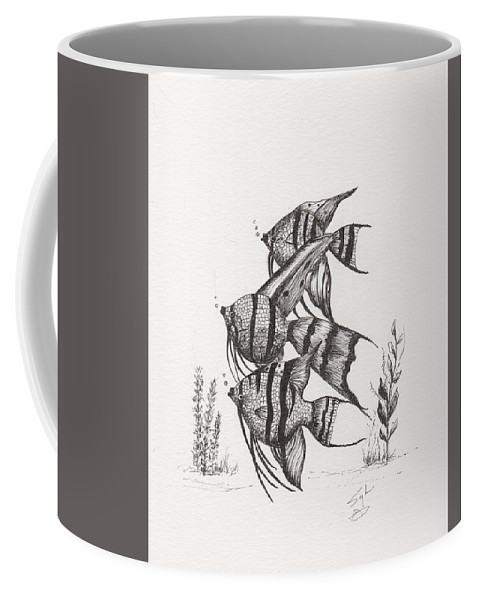 Pen And Ink Coffee Mug featuring the drawing Angel Fish by Syl Lobato