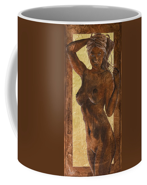 Nude Coffee Mug featuring the painting Angel In Gold by Richard Hoedl