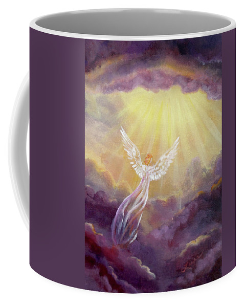Angel Coffee Mug featuring the painting Angel In Mauve Clouds by Laura Iverson