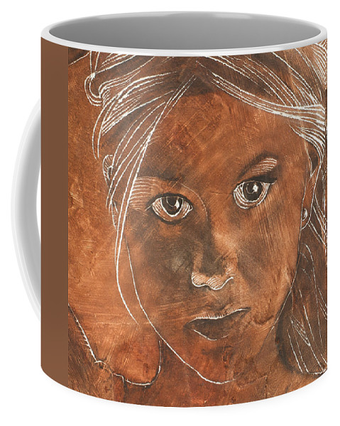 Nude Coffee Mug featuring the painting Angel In Process Head Detail by Richard Hoedl