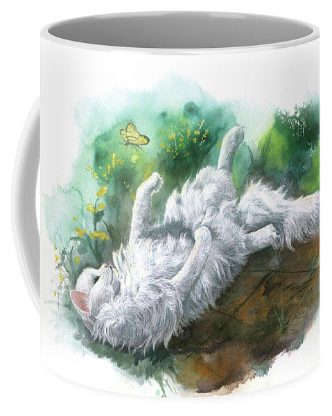 Cat Coffee Mug featuring the painting Angel In The Morning by Sherry Shipley