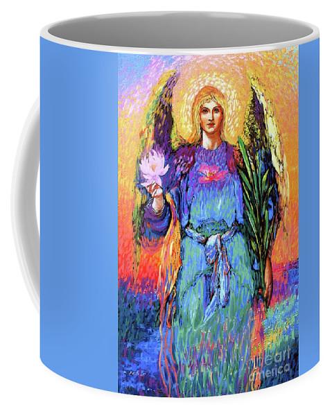 Spiritual Coffee Mug featuring the painting Angel Love by Jane Small