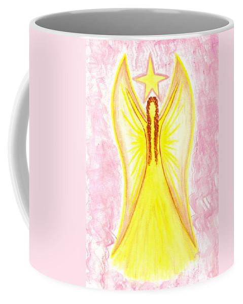 Angel Coffee Mug featuring the painting Angel Of Confidence by Konstadina Sadoriniou